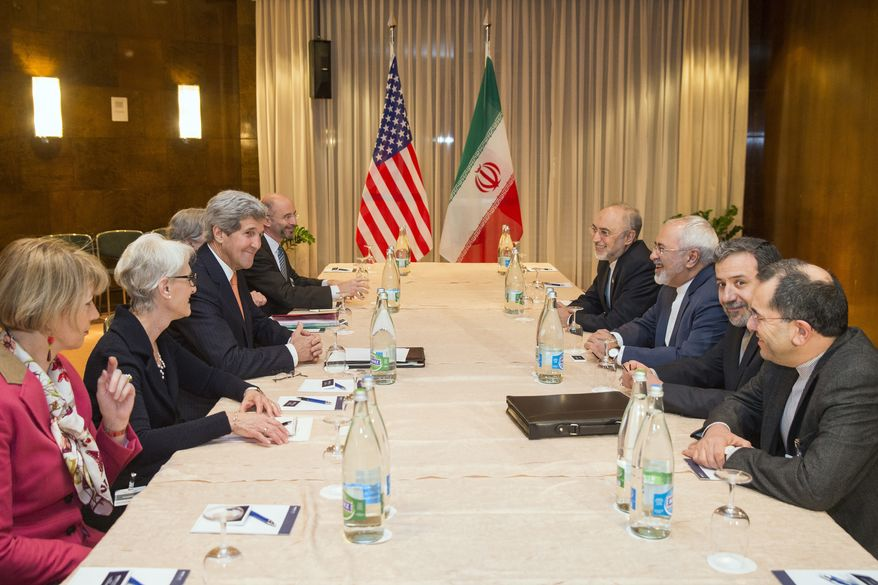 [u'Secretary of State John Kerry, fourth from left, meets with Iranian Foreign Minister Mohammad Javad Zarif, third from right, for a new round of nuclear negotiations on Wednesday, March 4, 2015, in Montreux, Switzerland.  (AP Photo/Evan Vucci)', u'U.S. Secretary of State John Kerry, third from left, meets with Iranian Foreign Minister Mohammad Javad Zarif, third from right, for a new round of nuclear negotiations Wednesday, March 4, 2015, in Montreux, Switzerland.  (AP Photo/Evan Vucci, Pool)']