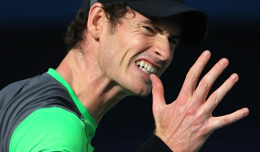 Andy Murray of the Great Britain reacts after he lost a point against Borna Coric of Croatia during a quarter final match of the Dubai Duty Free Tennis Championships in Dubai, United Arab Emirates, Thursday, Feb. 26, 2015. (AP Photo/Kamran Jebreili)