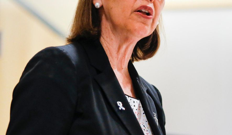 In this photo taken, Tuesday, March 3, 2015, Oregon Attorney General Ellen Rosenblum speaks at a Columbia Forum event at the Columbia Memorial Hospital Community Center in Astoria, Ore. Following the speech Rosenblum announced she will run for re-election in 2016. (AP Photo/Daily Astorian, Joshua Bessex)
