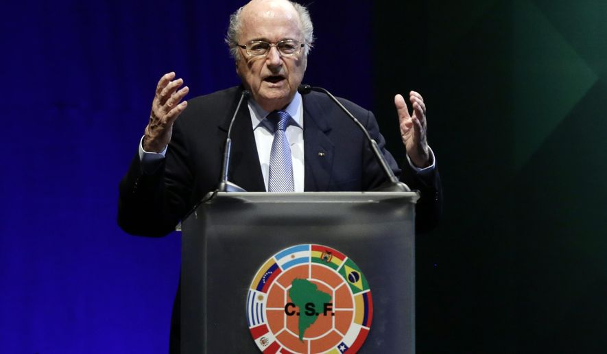 FIFA President Sepp Blatter speaks at a CONMEBOL general congress in Asuncion, Paraguay, Wednesday, March 4, 2015. The 78-year-old Blatter is seeking a fifth, four-year term running football. The countries which make up the South American football confederation have decided to support Blatter in FIFA's presidential elections, a person familiar with the decision told The Associated Press on Tuesday. (AP Photo/Jorge Saenz)