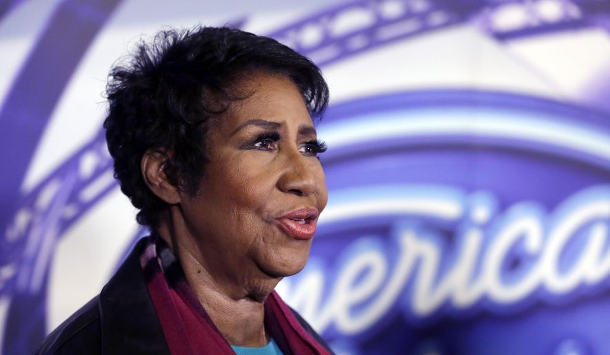 Singer Aretha Franklin is interviewed after taping for American Idol XIV at The Fillmore Detroit, Wednesday, March 4, 2015 in Detroit. The show was in Motown for a taping of an episode set to air that night. (AP Photo/Carlos Osorio)