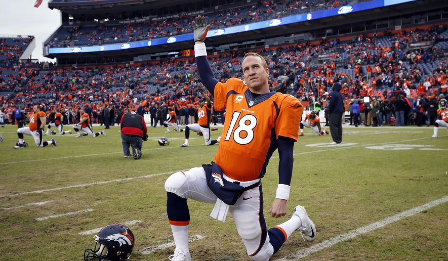 FILE - In this Jan. 11, 2015, file photo, Denver Broncos quarterback Peyton Manning stretches prior to the team's NFL divisional playoff football game against the Indianapolis Colts in Denver. A person with knowledge of the situation tells The Associated Press that Manning will return for a fourth season in Denver and 18th in the NFL. Manning will reduce his salary from $19 million to $15 million in 2015, according to the person who spoke on condition of anonymity because there was no official announcement. However, he can make up all of the $4 million pay cut by reaching certain performance benchmarks. (AP Photo/Jack Dempsey, File)
