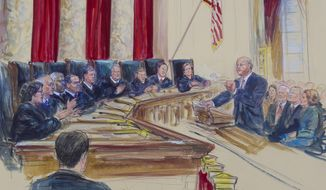 In this courtroom sketch Michael Carvin, lead attorney for the petitioners, right, addresses the Supreme Court during oral arguments in King v. Burwell, a major legal test of Obamacare. (AP Photo/Dana Verkouteren)
