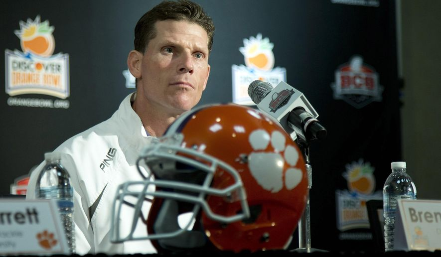FILE- In this Dec. 31, 2013, file photo, Clemson defensive coordinator Brent Venables talks to the media during an NCAA college football news conference in Fort Lauderdale, Fla. Venables said the Clemson defense worked too hard to get to No. 1 to give up simply because it lost eight starters, Wednesday, March 4, 2015. (AP Photo/J Pat Carter, File)