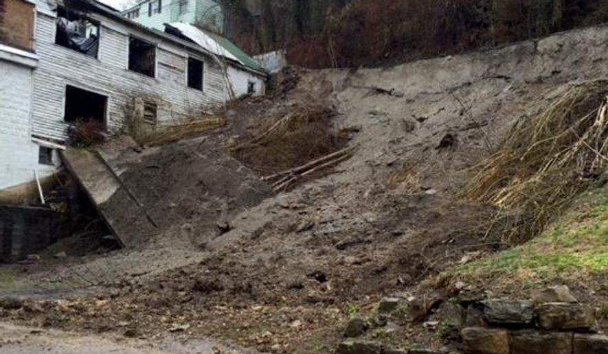 This mud slide occurred in the East End of Williamson. The retaining wall located above Ethel Street gave way due to the heavy rainfall and saturated ground Wednesday morning, March 4, 2015. Flood warnings have been issued as heavy rains move through West Virginia before giving way to significant snowfall. Schools in at least 15 counties sent students home early due to high water and other storm-related issues Wednesday. (AP Photo/Williamson Daily News, Kyle Lovern)