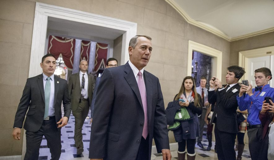 House Speaker John Boehner of Ohio returns to his office on Capitol Hill in Washington, Tuesday, March 3, 2015, as the House votes on funding for the Homeland Security Department without provisions attached to counter President Barack Obama's executive actions on immigration. Despite holding the majority in the Senate and the House, Republicans were unable to overcome united opposition from Senate Democrats to the GOP strategy of trying to overturn Obama's immigration plan by linking them to funding for Homeland. They also suffered embarrassing internal divisions that left the country within hours of a partial agency shutdown last week. (AP Photo/J. Scott Applewhite)