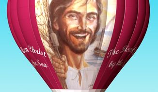"""The """"Risen Balloon"""" bears a smiling portrait of Jesus Christ, and will take an inaugural flight at Easter time. (Image courtesy of Sky Sail Balloons and The Joyful Noiseletter)"""
