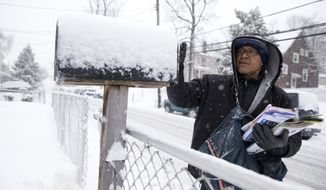 U.S. Postal Service mail carrier Willian Heredia delivers mail during snowstorm in Catonsville, Md., Thursday, March 5, 2015. (AP Photo/Carolyn Kaster/File)