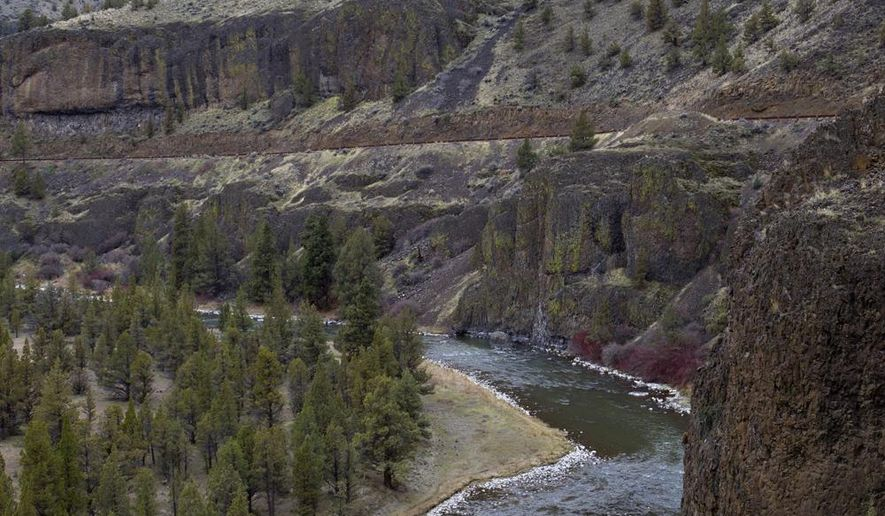 Picturesque views of the Crooked River Canyon await visitors traveling on the Crooked River Bikeway, south of Prineville, Ore., Wednesday, Feb. 25, 2015.  (AP Photo/The Bulletin, Andy Tullis)