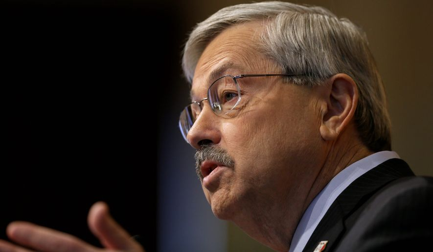 """""""I think Republicans have a great opportunity here in the agricultural heartland of the Midwest,"""" Iowa Gov. Terry E. Branstad said in a Jan. 13, 2015 state of the state speech to lawmakers. He warned that anyone opposed to ethanol targets won't win the White House. (Associated Press/Charlie Neibergall/File)"""