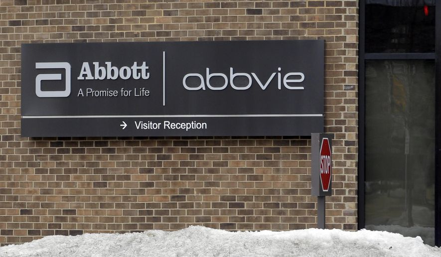 This Saturday, Jan. 24, 2015 photo shows the exterior of Abbvie, in Lake Bluff, Ill. AbbVie will spend about $21 billion to buy leukemia drugmaker Pharmacyclics in its first major deal attempt since walking away from a $55 billion takeover of Shire last fall, the company announced, late Wednesday, March 4, 2015. (AP Photo/Nam Y. Huh)
