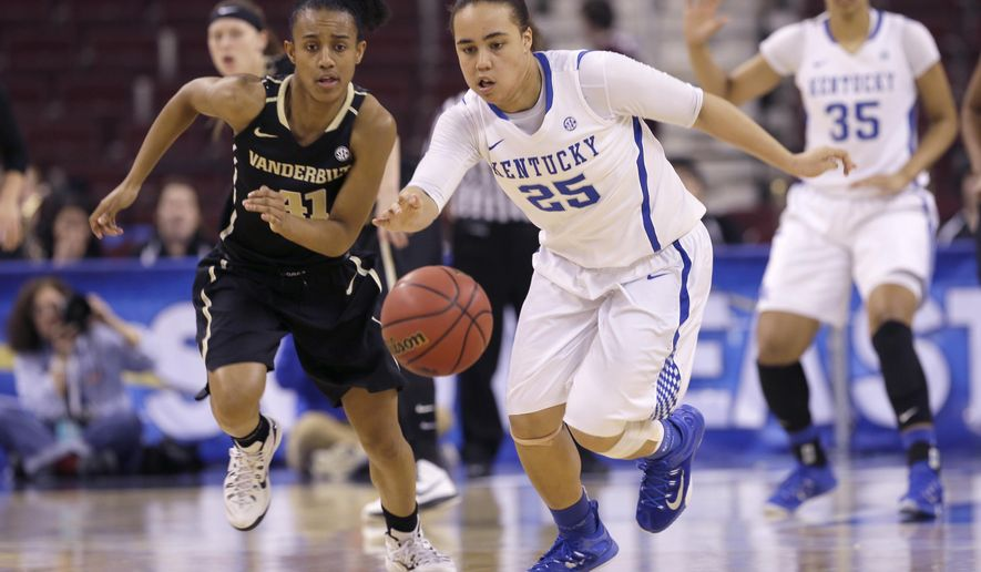 Kentucky's Makayla Epps (25) and Vanderbilt's Paris Kea (41) chase a loose ball in the first half of a Southeastern Conference women's tournament NCAA college basketball game in North Little Rock, Ark., Thursday, March 5, 2015. (AP Photo/Danny Johnston)