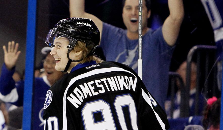 Tampa Bay Lightning center Vladislav Namestnikov (90) celebrates his goal against Toronto Maple Leafs goalie Jonathan Bernier (45) during the third period of an NHL hockey game Thursday, March 5, 2015, in Tampa, Fla. (AP Photo/The Tampa Bay Times, Dirk Shadd)  TAMPA OUT; CITRUS COUNTY OUT; PORT CHARLOTTE OUT; BROOKSVILLE HERNANDO TODAY OUT