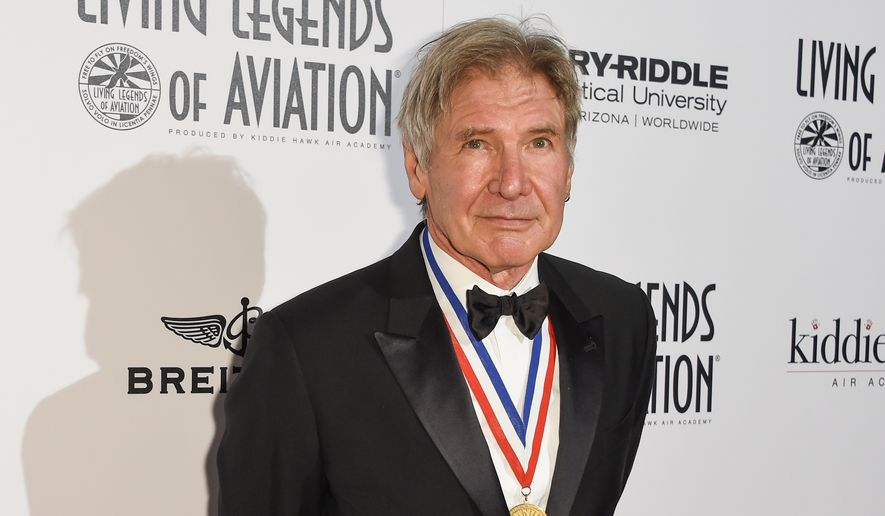 Harrison Ford attends the 12th Annual Living Legends of Aviation Awards at The Beverly Hilton Hotel on Friday, Jan 16, 2015, in Los Angeles. (Photo by Rob Latour/Invision/AP) ** FILE **