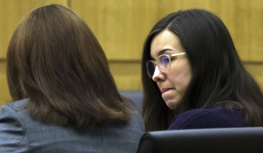 In this Thursday, Feb. 5, 2015, file photo, Jodi Arias, right, sits with her defense attorney Jennifer Willmott during the sentencing phase of her retrial at Maricopa County Superior Court in Phoenix. (AP Photo/The Arizona Republic, Mark Henle, Pool, File)