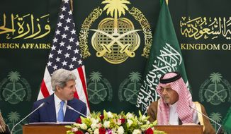 U.S. Secretary of State John Kerry, left, takes part in a news conference with Saudi Foreign Minister Saud bin Faisal bin Abdulaziz Al Saud on Thursday, March 5, 2015, in Riyadh, Saudi Arabia. Kerry sought Thursday to ease Gulf Arab concerns about an emerging nuclear deal with Iran and explore ways to calm instability in Yemen and other troubled nations in the Middle East. (AP Photo/Evan Vucci, Pool)