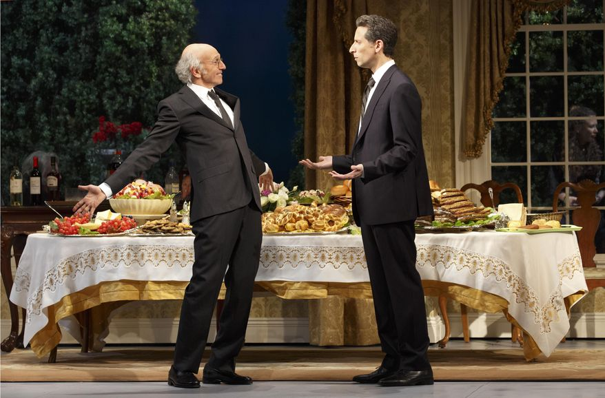 """This image released by Philip Rinaldi Publicity shows Larry David, left, and Ben Shenkman during a performance of the comedy """"Fish in the Dark,"""" at the Cort Theatre in New York. (AP Photo/Philip Rinaldi Publicity, Joan Marcus)"""