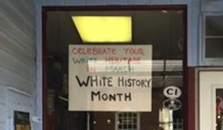 "The sign at Jimbo's Deli celebrating ""White History Month"" is creating a stir in Flemington, New Jersey. (Yelp)"