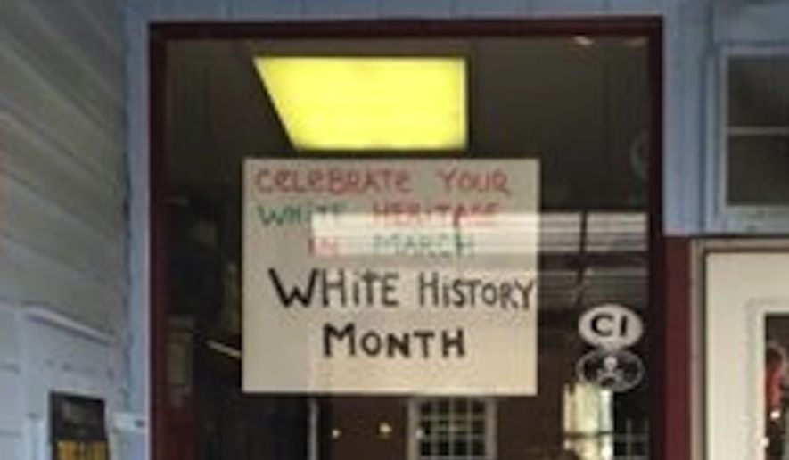 """The sign at Jimbo's Deli celebrating """"White History Month"""" is creating a stir in Flemington, New Jersey. (Yelp)"""