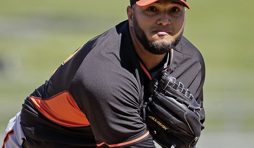 San Francisco Giants starting pitcher Yusmeiro Petit throws during the first inning of a spring training baseball game against the Texas Rangers Friday, March 6, 2015, in Surprise, Ariz. (AP Photo/Charlie Riedel)