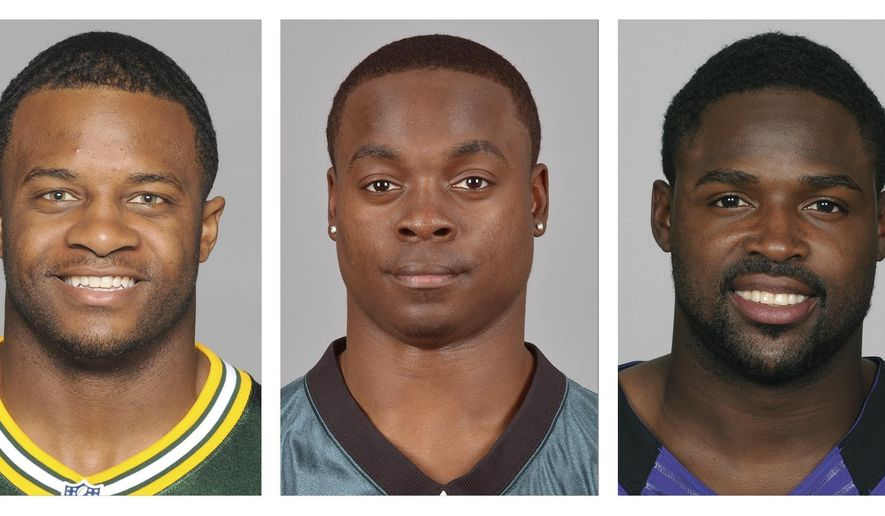 FILE - From left are 2014, file photos showing Dez Bryant, Randall Cobb, Jeremy Maclin, Torrey Smith and Wes Welker. Free Agency starts on Tuesday, March 10, 2015. One area that certainly will get plenty of attention, and dollars, is receiver.  (AP Photo/File)