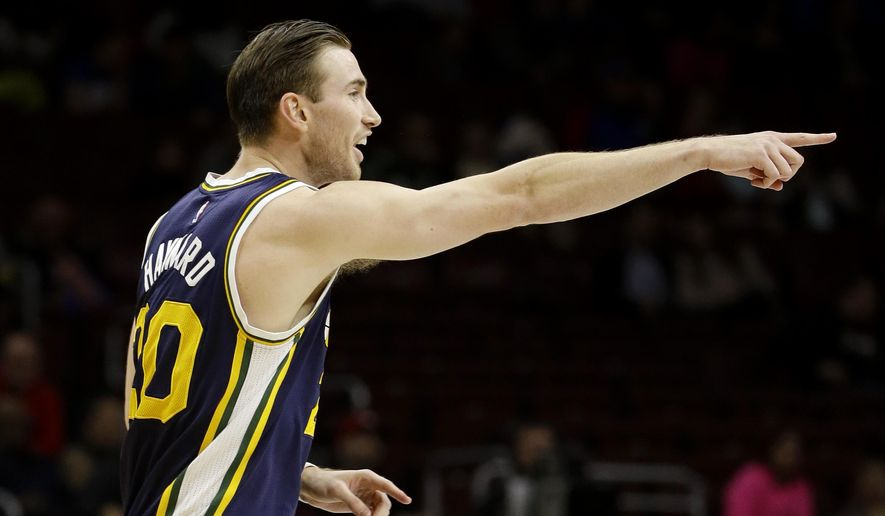 Utah Jazz's Gordon Hayward reacts after scoring a basket during the first half of an NBA basketball game against the Philadelphia 76ers, Friday, March 6, 2015, in Philadelphia. (AP Photo/Matt Slocum)