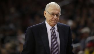 FILE - In this Dec. 20, 2014, file photo, Syracuse head coach Jim Boeheim reacts during an NCAA college basketball game against Villanova in Philadelphia. The NCAA has suspended Syracuse coach Jim Boeheim Friday, March 6, 2015, for nine games for academic, drug and gifts violations committed primarily by the men's basketball program.(AP Photo/Matt Slocum, File)