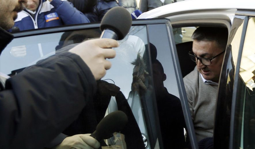Parma's technical director Antonello Preiti leaves the Lega calcio headquarter in Milan, Italy, Friday, March 6, 2015. Italy's top soccer teams voted to give Parma a 5 million euro ($5.5 million) emergency fund to help the club finish the season. Sixteen of the 20 clubs in Serie A voted in favor of the measure on Friday. Roma, Napoli and Sassuolo abstained, and only Cesena voted against the move. (AP Photo/Luca Bruno)