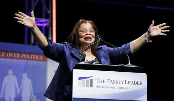 In this Aug. 9, 2014, file photo, Dr. Alveda King, niece of Dr. Martin Luther Kings, speaks during The Family Leadership Summit in Ames, Iowa. Fox News Channel says it has hired Alveda King, a niece of the late civil rights leader Martin Luther King Jr., as a commentator for the network. (AP Photo/Charlie Neibergall, File)