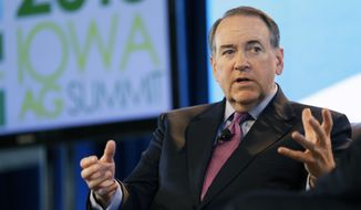 Former Arkansas Gov. Mike Huckabee speaks during the Iowa Agriculture Summit, Saturday, March 7, 2015, in Des Moines, Iowa. (AP Photo/Charlie Neibergall) ** FILE **