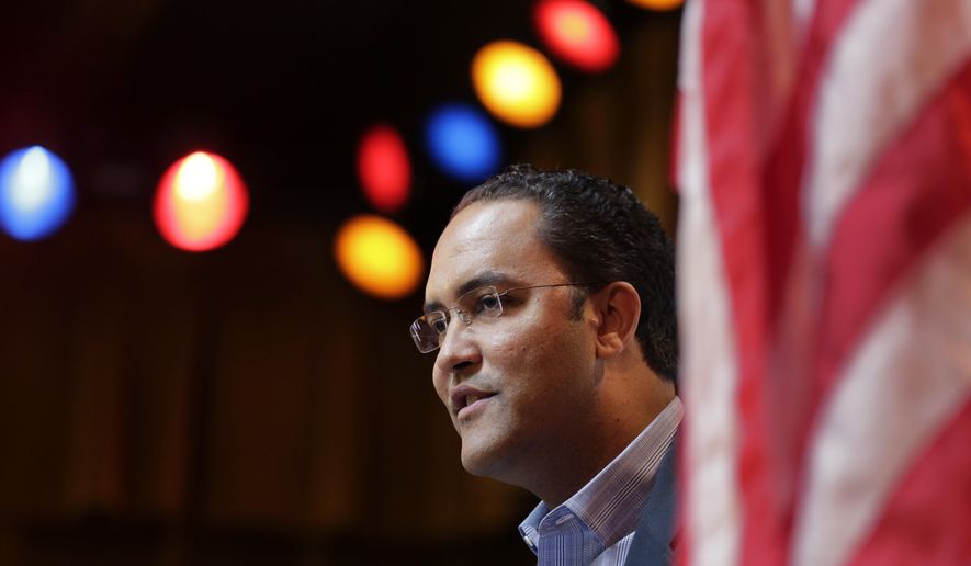 Rep. Will Hurd, R-Texas, speaks to the South San Antonio Chamber of Commerce, Wednesday, Feb. 18, 2015, in San Antonio. (AP Photo/Eric Gay) ** FILE **