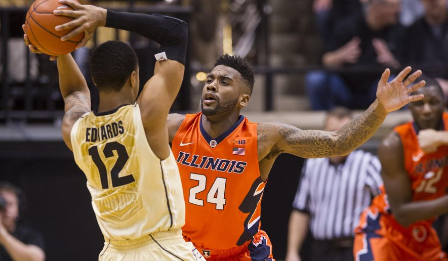 Illinois guard Rayvonte Rice (24) tightly defends Purdue forward Vince Edwards (12) during the first half of an NCAA college basketball game, Saturday, March 7, 2015, in West Lafayette, Ind. (AP Photo/Doug McSchooler)