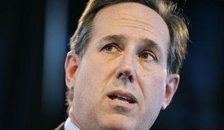 Former Penn. Sen. Rick Santorum speaks during the Iowa Agriculture Summit, Saturday, March 7, 2015, in Des Moines, Iowa. (AP Photo/Charlie Neibergall)