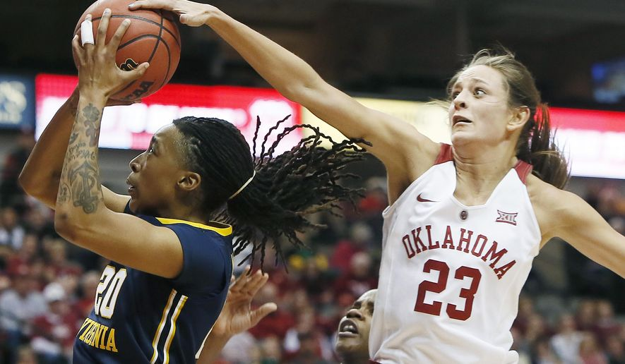 West Virginia guard Bre McDonald (20) attempts a shot as Oklahoma guard Maddie Manning (23) defends during the first half of an NCAA college basketball game in the quarterfinals of the Big 12 Conference tournament, Saturday, March 7, 2015, in Dallas. (AP Photo/Brandon Wade)