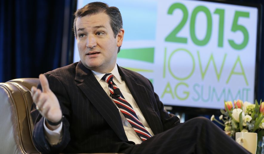 Sen. Ted Cruz, R-Texas, speaks during the Iowa Agriculture Summit, Saturday, March 7, 2015, in Des Moines, Iowa. (AP Photo/Charlie Neibergall)