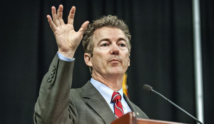 Sen. Rand Paul, R-Ky., speaks during Southern Kentucky Lincoln Day Dinner at Knicely Conference Center in Bowling Green, Ky., Saturday, March 7, 2015. (AP Photo/Daily News, Bac Totrong)