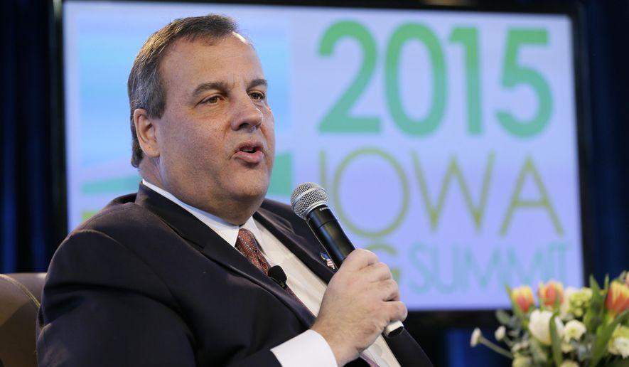 New Jersey Gov. Chris Christie speaks during the Iowa Agriculture Summit, Saturday, March 7, 2015, in Des Moines, Iowa. (AP Photo/Charlie Neibergall)