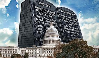 Ten Commandments Loom Over the Capitol Illustration by Greg Groesch/The Washington Times