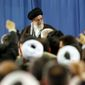 Leading the way: Ayatollah Ali Khamenei, attended a meeting with environmental officials and activists at his residence in Tehran on Sunday. Iran's supreme leader holds a deep mistrust of America. (Associated Press)