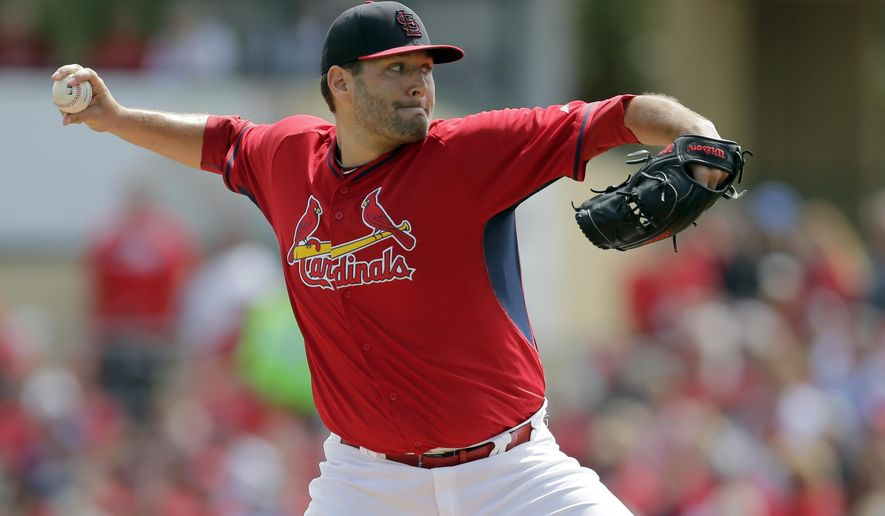 St. Louis Cardinals starting pitcher Lance Lynn throws during the first inning of an exhibition spring training baseball game against the Miami Marlins, Sunday, March 8, 2015, in Jupiter, Fla. (AP Photo/Jeff Roberson)