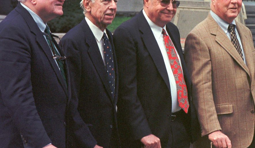 FILE - In a May 23, 1997 file photo, four former Vermont governors stand on the Statehouse lawn, in Montpelier, Vt.  From left, Tom Salmon, Robert Stafford, F. Ray Keyser and Phil Hoff. F. Ray Keyser Jr., the former Republican governor of Vermont, died Saturday, March 7, 2015 at his daughter's home in Brandon, said Dennis Cilley, director of the Boardway & Cilley Funeral Home. He was 88.  (AP Photo/Toby Talbot, File)