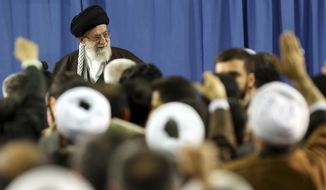 In this picture released by an official website of the office of the Iranian supreme leader, Supreme Leader Ayatollah Ali Khamenei attends a meeting with a group of environmental officials and activists at his residence in Tehran, Iran, Sunday, March, 2015. (AP Photo/Office of the Iranian Supreme Leader)