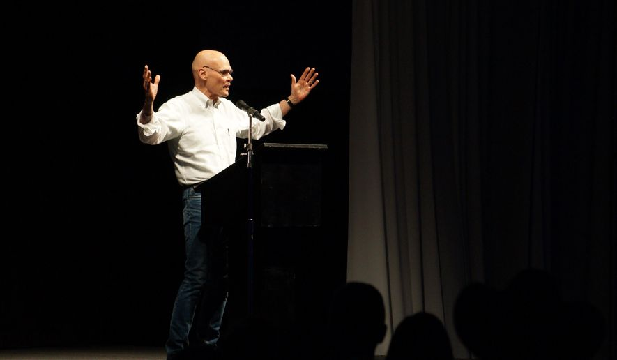 James Carville, a political commentator known for leading former President Bill Clinton's 1992 presidential campaign, speaks to attendees of the 37th Annual Mansfield Metcalf Celebration in Helena, Montana Saturday March 7, 2015. (AP Photo/Alison Noon)