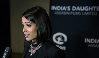 "Actress Frieda Pinto speaks as she arrives for the premiere for the film ""India's Daughter"" at Baruch College in New York, Monday, March 9, 2015. (AP Photo/Craig Ruttle)"