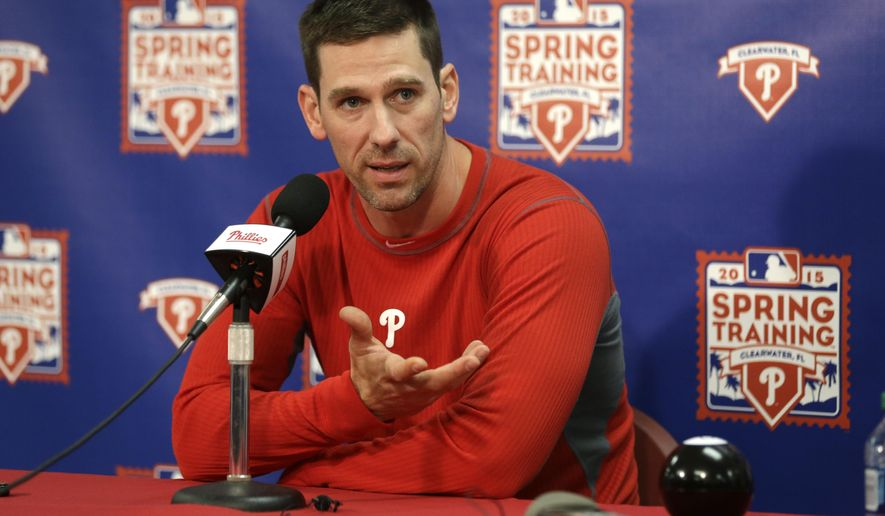 FILE - In this Feb. 19, 2015, file photo, Philadelphia Phillies starting pitcher Cliff Lee responds to a question during a news conference at spring training baseball in Clearwater, Fla. Lee is awaiting a second opinion from Dr. James Andrews on his ailing left elbow and says surgery would end his season and possibly his career. (AP Photo/Lynne Sladkk, File)