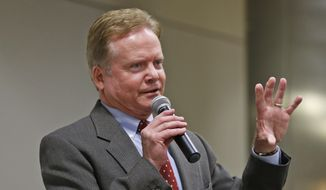 Former Virginia Sen. Jim Webb speaks at the Capitol in Richmond, Va., in this Dec. 3, 2014, file photo. (AP Photo/Steve Helber, File)