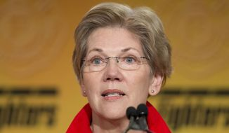 Sen. Elizabeth Warren, D-Mass. speaks at the International Association of Firefighters (IAFF) Legislative Conference and Presidential Forum in Washington, Monday, March 9, 2015. (AP Photo/Pablo Martinez Monsivais) ** FILE **