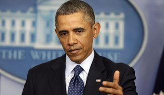 President Obama speaks at the White House in Washington on March 1, 2013. (Associated Press)