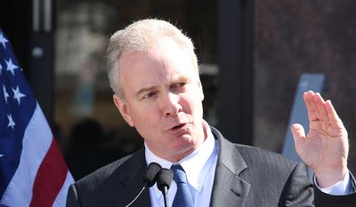 Rep. Chris Van Hollen, D-Md., talks at a news conference in Rockville, Md., on Monday, March 9, 2015 after announcing endorsements for his candidacy for U.S. Senate.   Van Hollen announced last week he would seek the Senate seat that will be vacated by retiring Sen. Barbara Mikulski, who announced last week she won't run for re-election in 2016.  (AP Photo/Brian Witte)