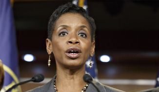 FILE - In this Nov. 17, 2014 file photo, Rep. Donna Edwards, D-Md. speaks on Capitol Hill in Washington. Edwards intends to join the race to replace retiring Sen. Barbara Mikulski, hoping to become the first African-American elected to the Senate from her state, according to officials familiar with her plans.   (AP Photo/J. Scott Applewhite, File)